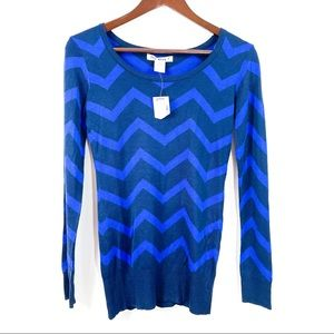 Say What? Blue Chevron Sweater